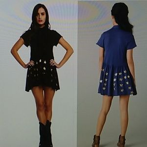 Wildfox old fashioned star dress black and gold sm